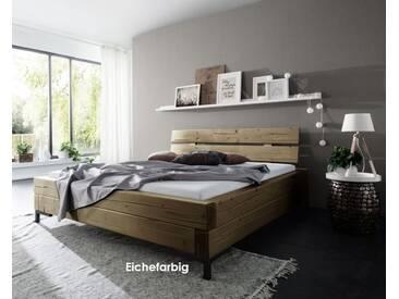 3S Frankenmöbel Massivholbett Doppelrahmen 180x200 cm / Eichefarbig gebeizt
