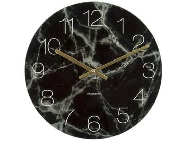 Present Time Wanduhr Glass Marble Schwarz