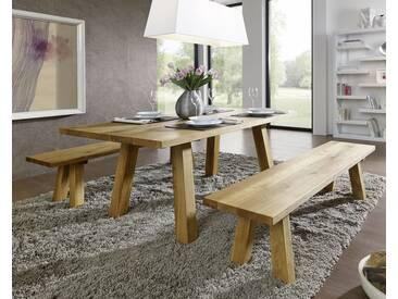 3S Frankenmöbel Massivholz Wildeiche Bank 160 cm / ohne Rückenlehne