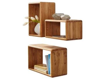 3S Frankenmöbel Massivholz Wandregal 3er Set Corner Kernbuche geölt