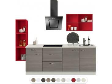 Optikontrast Miniküche mit E-Geräte und roten Regalen, Breite 210 cm + 32 cm