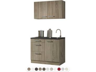 Optikontrast Miniküche mit E-Geräte und opal farbenem Regal, Breite 150 cm