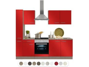 Optifit Küchenzeile mit E-Geräte und Hochschrank mit Apothekerauszug, Breite 240 cm