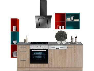 Optikontrast Miniküche mit E-Geräte und farbigen Regalen, Breite 210 cm + 19 cm