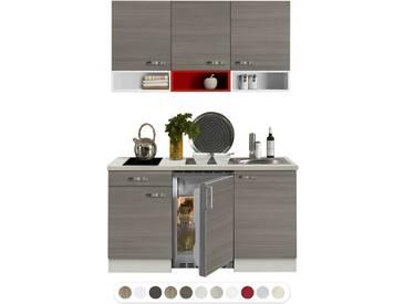 Optikontrast Miniküche mit E-Geräte und weißen und roten Regalen, Breite 150 cm