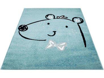 Carpet City Kinderteppich »Bubble Kids 1333«, rechteckig, Höhe 11 mm, Teddybär, Kurzflor, blau, blau