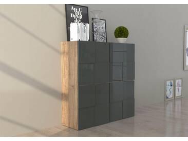 INOSIGN Highboard in 3D-Optik, Breite 120 cm, grau, Tanne/anthrazit Hochglanz