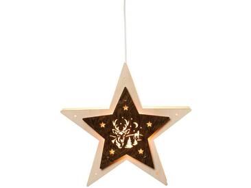 SAICO Original Fensterlicht-Stern mit Hirsch, elektrisch beleuchtet