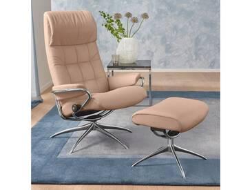 Stressless® Set: Relaxsessel mit Hocker »London« mit Star Base, in 2 Höhen, mit Schlaffunktion, natur, High Base, sand