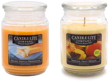 Candle-lite™ Duftkerze »Everyday - Orange Vanilla Dreamsicle & Tropical Fruit Medley,« (Set, 2 tlg), Inhalt je Kerze 510 g, bunt, Ø10 cm, orange-gelb