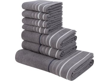 my home Handtuch Set »Niki« (Set, 7-tlg), mit Streifenbordüren (7tlg.-Set), grau, grau