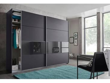 Wimex Schwebetürenschrank »Bramfeld« mit Glaselementen und zusätzlichen Einlegeböden, grau, Höhe: 236 cm, Breite: 270 cm