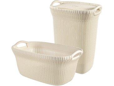 Curver CURVER Wäschebox »KNIT Wäschebox+Wäschekorb«, 2´er-Set, weiß, weiß