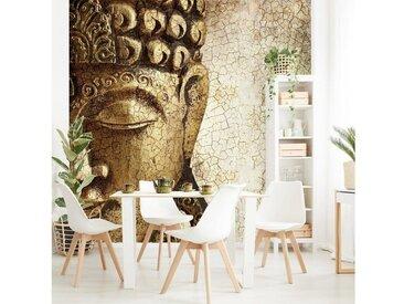 Bilderwelten Tapete selbstklebend Quadrat »Vintage Buddha«, braun, 192x192 cm, Braun