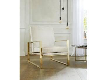 Guido Maria Kretschmer Home&Living GMK Home & Living Sessel »Melnwai«, mit elegantem, vergoldetem Metallgestell und weichem Samtchenille Bezug, natur