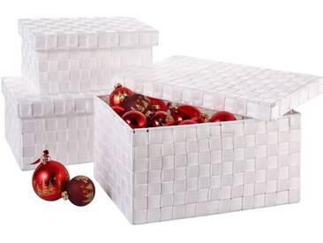 Franz Müller Flechtwaren Aufbewahrungsbox (Set, 3 Stück), unempfindliches Nylongeflecht, weiß, 313539x212527x141619 cm, weiß