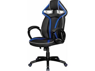 Amstyle Chefsessel »Gamestar« mit gepolsterten Armlehnen, schwarz, schwarz/blau