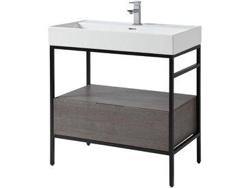 CYGNUS BATH Waschtisch »Brooklyn«, mit Aufsatzbecken und Metallgestell 80cm Breite, schwarz, eichefarben grau