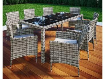 VCM Rattan Gartenmöbel - Set 190x90, grau, 6 Stühle + 1 Tisch, Grau