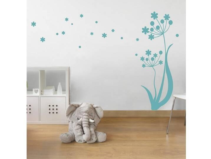Bilderwelten Wandtattoo »Blume im Wind«, blau, ...