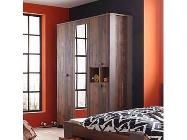 FORTE Kleiderschrank »Clif« mit Spiegelauflage, grau, Breite 156 cm, Betonoptik dunkelgrau/old vintage wood