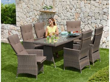 MERXX Gartenmöbelset »Valencia«, 13-tlg., 6 Relaxsessel, Tisch 150x80 cm, Polyrattan, braun, taupe/braun