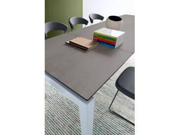 connubia by calligaris Tisch mit Tischplatte aus Keramik »Airport CB/4011«, natur, Metall satiniert, Keramik Stein