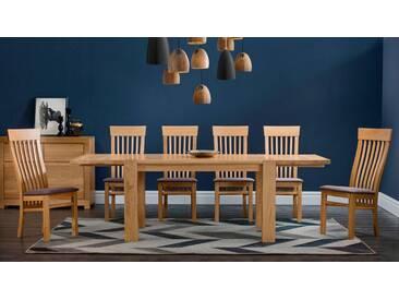Premium collection by Home affaire Essgruppe bestehend aus dem Tisch »Dominik« und den Stühlen »Amore« (5 tlg.), braun, Eiche/ braun