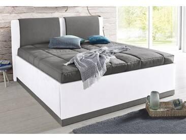 Westfalia Schlafkomfort Polsterbett, inkl. Bettkasten und Tagesdecke, grau, Bonnell-Federkernmatratze H2, weiß, dunkelgrau