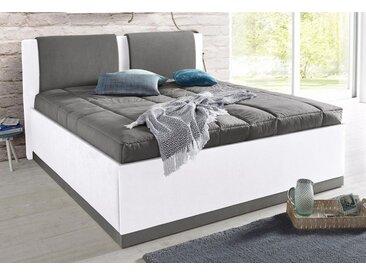 Westfalia Schlafkomfort Polsterbett, mit Bettkasten und Tagesdecke, weiß, Bonnell-Federkernmatratze - H2, weiß-dunkelgrau