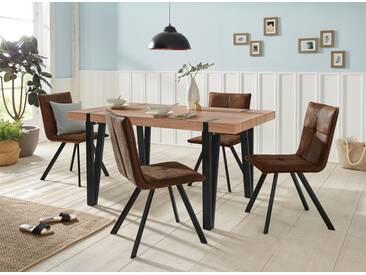 Essgruppe »Sanchez/Parker«, Tisch mit 4 Stühlen, natur, Eichefarben/Braun