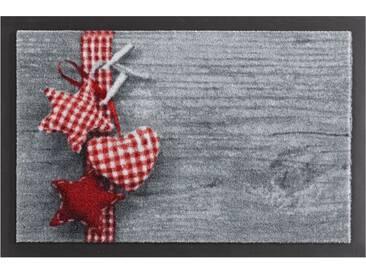 HANSE Home Fußmatte »Stern mit Herz«, rechteckig, Höhe 7 mm, rutschhemmend beschichtet, grau, 7 mm, grau-rot