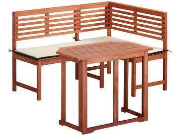 MERXX Gartenmöbelset 2-tlg., Eckbank, Tisch 90x60 cm, klappbar, Eukalyptus, braun, braun, braun