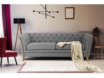 Home affaire 3-Sitzer »Newport«, mit Knopfheftung im Rücken, Keder und feinen Armlehnen, grau, 210 cm, hellgrau