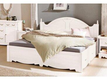 Home affaire Bett »Romantika«, aus massiver Kiefer, inklusive 2 Bettschubladen, weiß, weiß
