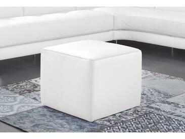 NATUZZI EDITIONS Hocker »Genua« in zwei Lederqualitäten, weiß, bianco ottico