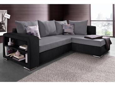 COLLECTION AB Ecksofa, mit Bettfunktion und Regalarmteil, schwarz, 226 cm, schwarz/grau