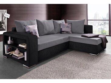 COLLECTION AB Ecksofa, mit Bettfunktion und Regalarmteil, schwarz, mit Bettfunktion-ohne Federkern, schwarz-grau