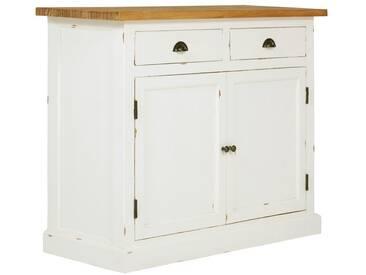 massivum Sideboard aus Mindi massiv »Landhaus Classic«, weiß, 110x80x45cm, weiß
