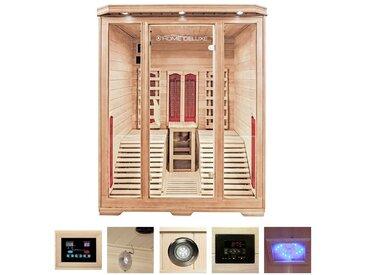 HOME DELUXE Infrarotkabine »Maui«, BxTxH: 150x150x190 cm, für 2 Personen, braun, braun