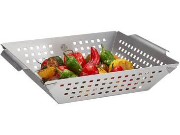 GEFU Grillschale »BBQ«, Edelstahl, (1-St), für Gemüse, Fisch, Rosmarinkartoffeln, silberfarben, 28 x 33 x 7,5 cm, silberfarben
