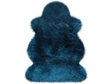 Heitmann Felle Fellteppich »Lammfell farbig«, fellförmig, Höhe 70 mm, echtes Austral. Lammfell, blau, blau