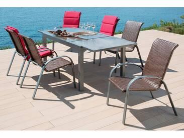 MERXX Gartenmöbelset »Côte d´Azur«, 7-tlg., 6 Sessel, Tisch 200x90x75 cm, grau, grau, grau