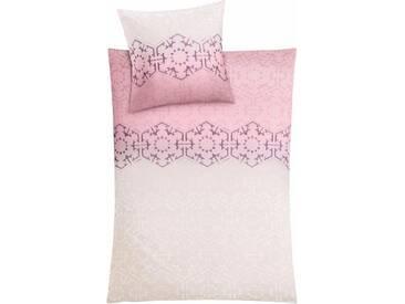 Kleine Wolke Bettwäsche »Flakes«, mit stilisierten Schneeflocken, rosa, 1x 155x220 cm, Mako-Satin, rosé
