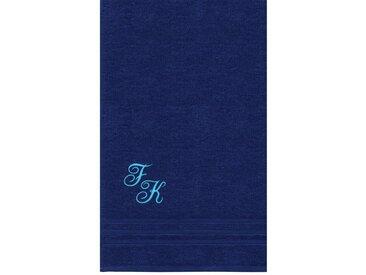 Lashuma Saunatuch »London«, Badehandtuch Extra Lang 85x220, Liegetuch Bestickt mit Monogramm, blau, marine