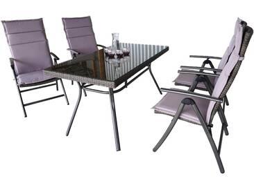 MERXX Diningset »Pavia«, 9-tlg., 4 Sessel, 1 Tisch 140x80 cm, Stahl, grau, grau