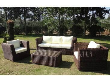 Baidani BAIDANI Loungeset »Funky«, 14-tlg., 3er Sofa, 2 Sessel, Tisch 100x58x40 cm, Polyrattan, braun, braun/cremeweiß