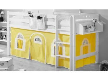 Ticaa Vorhang-Set, Landhausoptik, gelb, gelb-weiß