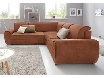 exxpo - sofa fashion Polsterecke mit Bettfunktion, braun, Mit Bettfunktion und Bettkasten, cognac