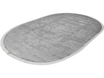 LALEE Teppich »Noblesse 900«, oval, Höhe 12 mm, silberfarben, 12 mm, silberfarben